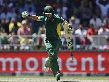 Faf du Plessis celebrates after reaching his century in 2nd ODI against Australia. AP