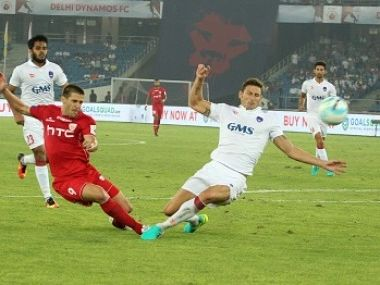 Emiliano Alfaro of NorthEast United FC shoots during the match against Delhi Dynamos. ISL