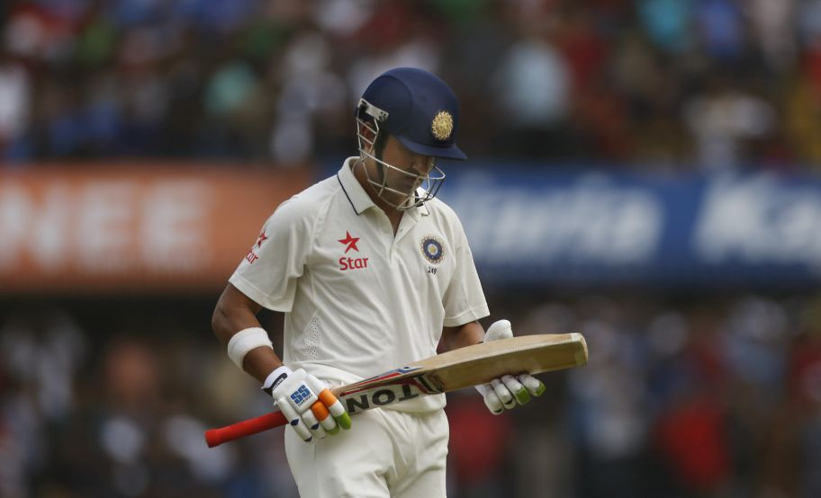 Indian batsman Gautam Gambhir leaves the ground after he went out on the first day of their third cricket test match against New Zealand in Indore, India, Saturday, Oct. 8, 2016. (AP Photo/Rafiq Maqbool)