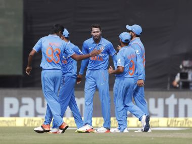 Hardik Pandya celebrates the dismissal of Martin Guptil. AP