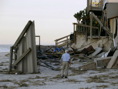 A damaged beach home at Ponte Vedra Beach, in Florida after Hurricane Matthew passed through Friday. AP