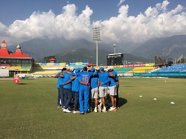 The Indian team warming up at Dharamsala ahead of the first ODI. Image courtesy: Twitter/ @BCCI