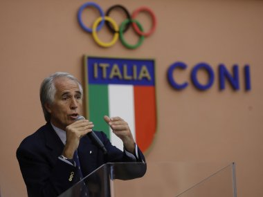 Italian Olympic Committee President Giovanni Malago at a press conference in Rome. AP