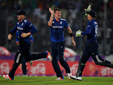 Jake Ball celebrates dismissing Sabbir Rahman during 1st ODI. Getty