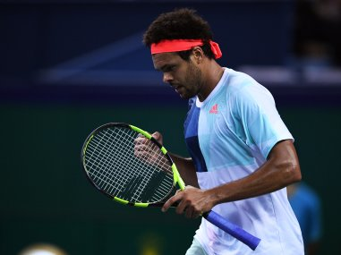 Jo-Wilfried Tsonga reacts after beating Florian Mayer at the Shanghai Masters. AFP