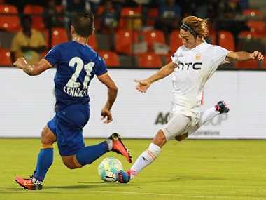 Katsumi Yusa of NorthEast United FC was guilty of wasting a number of chances. ISL