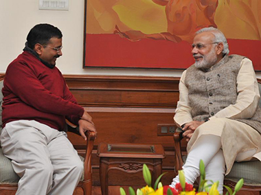 A file photo of Arvind Kejriwal with PM Modi. PTI