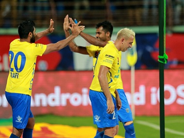 Kerala Blasters players celebrate a goal during their match against Mumbai City FC. ISL