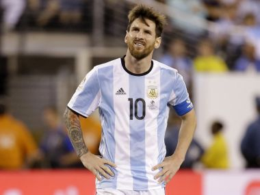 File photo of Lionel Messi in Argentinian colours. AP