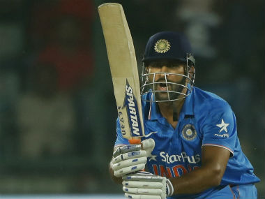 Indian limited-overs captain MS Dhoni bats in the 2nd ODI in Delhi. AP