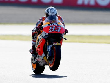 Repsol Honda Team's Marc Marquez celebrates winning the Japan GP. AFP