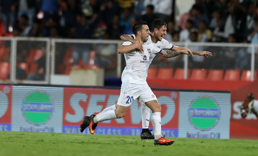 Matias Defederico of Mumbai City FC celebrates scoring during ISL 2016. Sportzpics