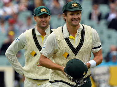 File image of Michael Clarke (L) and Shane Watson. AFP