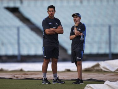File photo of Ross Taylor with New Zealand coach Mike Hesson. AP