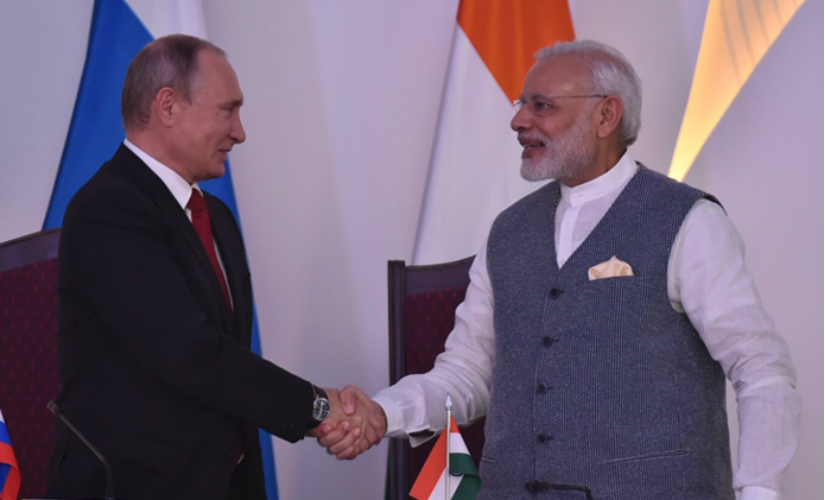 Prime Minister Narendra Modi and Russian President Vladimir Putin during the joint statement ahead of Brics summit in Goa on Saturday. (Image: PIB)