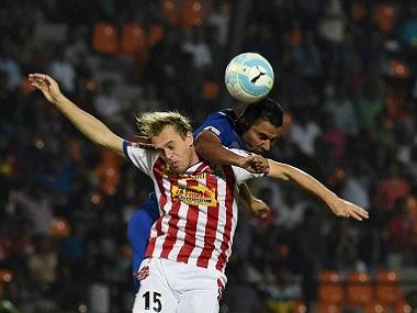 Mumbai City FC and Atletico de Kolkata players in action. PTI