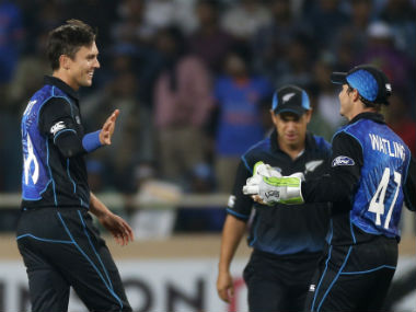 Trent Boult celebrates with the New Zealand players after completing the 19-run win. AP