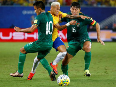 Brazil's Neymar (centre) in action against Bolivia in South American World Cup qualifiers. Reuters