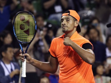Australia's Nick Kyrgios reacts during a match. AP