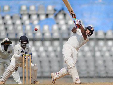 Delhi's batsman Rishab Pant plays a shot against Maharashtra during the Ranji Trophy match at Wankhede Stadium. PTI