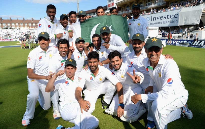 Pakistan celebrate after the Test series in England. Getty Images