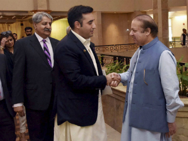 Prime Minister Nawaz Sharif meets Pakistan Peoples Party's Chairman Bilawal Bhutto. PTI/AP