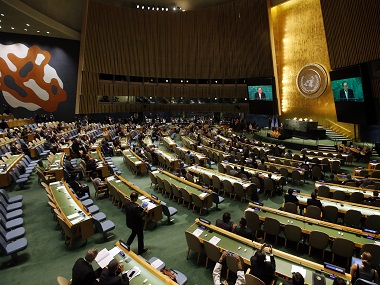 United Nations Secretary General Ban Ki-moon addresses a high-level event on the entry into force of the Paris Agreement on climate change during the 71st session of the U.N. General Assembly at U.N. Headquarters, Wednesday, Sept. 21, 2016. (AP Photo/Jason DeCrow)