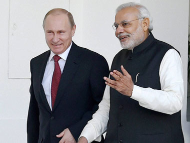 Vladimir Putin, Russian premier and Narendra Modi, India's PM. PTI