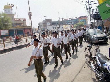 RSS cadres in trousers. PTI