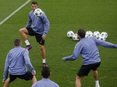 Real Madrid's Cristiano Ronaldo pracises ahead of their Champions League game. AP