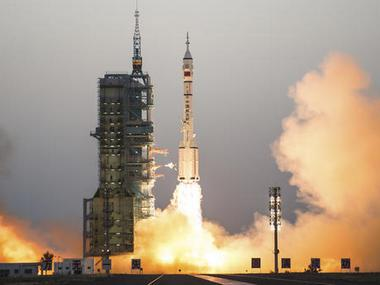 China's Shenzhou 11 spaceship onboard a Long March-2F carrier rocket takes off from the Jiuquan Satellite Launch Center in northwest China's Gansu province on Monday. AP