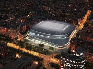 This handout image provided by Real Madrid shows a computer generated image of the remodeled Santiago Bernabeu stadium in Madrid. AP