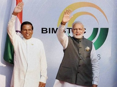 Prime Minister Narendra Modi with Sri Lankan President Maithripala Sirisena during the opening ceremony of the BIMSTEC Summit in Mobor, Goa on Sunday. PTI