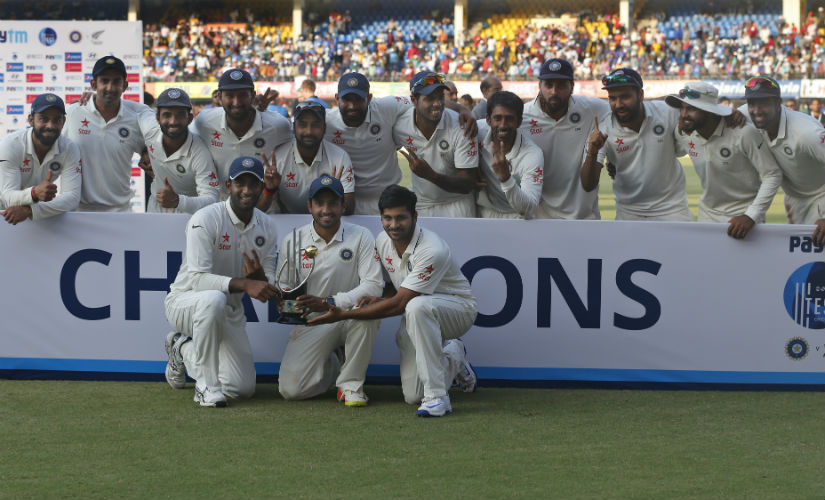 The Indian team poses with the winner's trophy after completing a 3-0 whitewash. AP