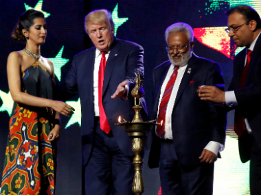 Donald Trump at the RHC event with Shalabh Kumar. Reuters