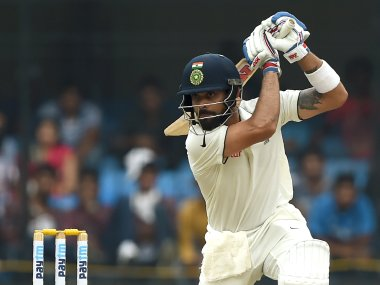 Virat Kohli plays a shot during the first day of third Test against New Zealand. AFP