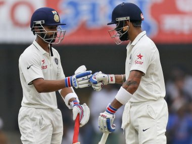 Virat Kohli and Ajinkya Rahane in the Indore Test. AP