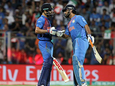 File photo of MS Dhoni and Virat Kohli. Solaris