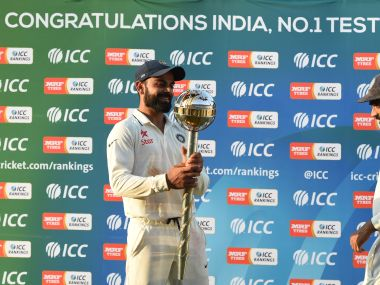 Indian Test captain Virat Kohli with the Test mace. AFP
