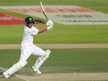 Pakistan's Younis Khan plays a shot during their test match against West Indies. AFP