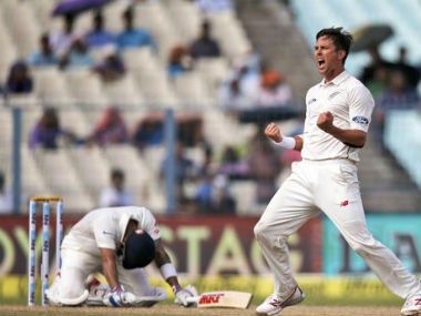 Trent Boult celebrates after taking the wicket of Virat Kohli in the second Test at Kolkata. AP
