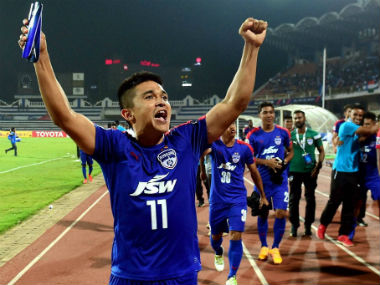 Sunil Chhetri celebrates Bengaluru FC's win in the AFC Cup semi-final. PTI