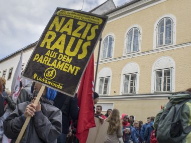 A file photo shows protesters gathering outside the house where Adolf Hitler was born during the anti-Nazi protest in Braunau Am Inn, Austria. AFP