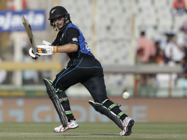 Tom Latham plays a shot against India during the third ODI at Mohali. AP
