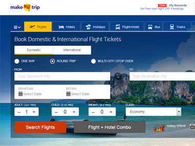 A screengrab of MakeMyTrip website