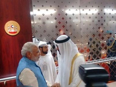 File image of Modi with Abu Dhabi crown prince Sheikh Mohammed bin Zayed al Nahyan, during the prime minister's 2015 visit to the UAE. Twitter @narendramodi