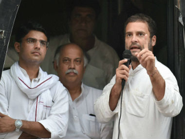 Congress vice-president Rahul Gandhi on his last day of the roadshow. PTI