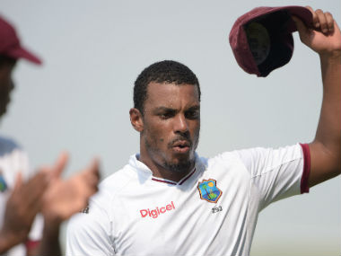 Shannon Gabriel walks back after his five wickets against Pakistan. AFP