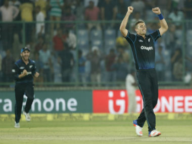 Tim Southee celebrates a wicket against India during the second ODI in Delhi. AP