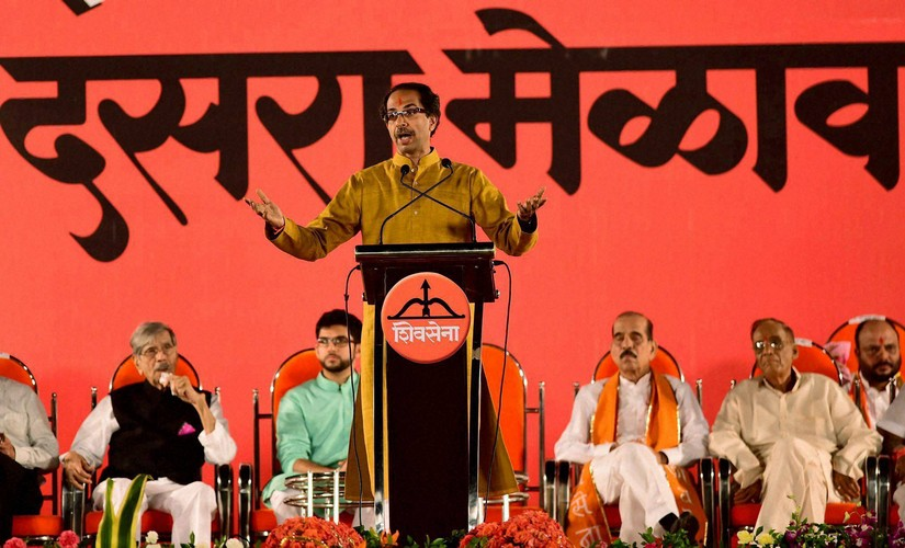 Shiv Sena President Uddhav Thackarey addresses during the party''s annual Dussehra rally at Shivaji Park in Mumbai on Tuesday. PTI